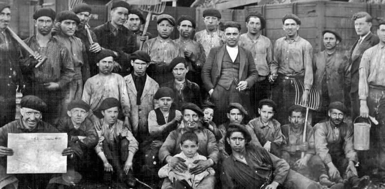 Trabajadores de Guardo en 1934.